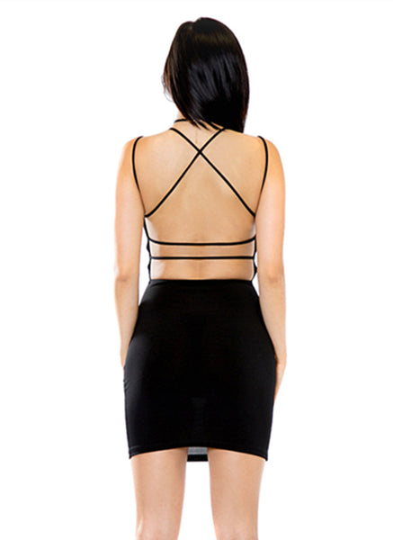 Women's Sexy V-Neck Backless Her Fashion Black Bodycon Dress