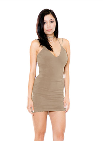 Women's Sexy V-Neck Backless Her Fashion Tan Bodycon Dress