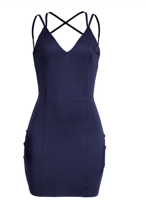 Women's Sexy V-Neck Backless Her Fashion Navy Blue Bodycon Dress