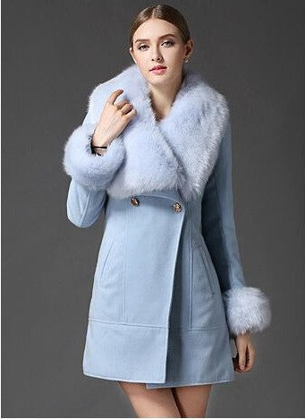 Women's Light Blue Faux Fur Collar Wool Woolen Coat Jacket