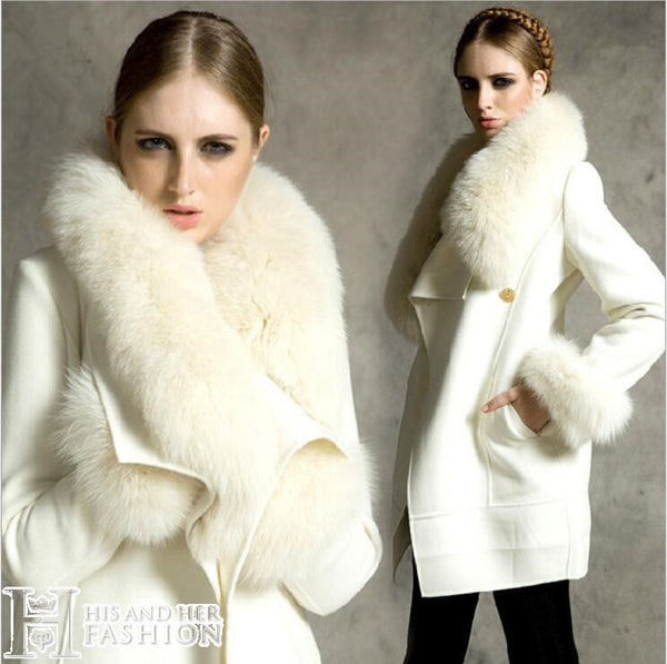 Women S Off White Fox Fur Collar Wool Woolen Coat Jacket