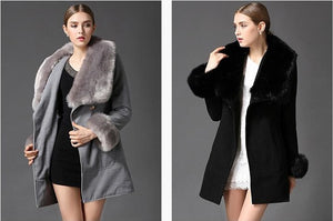 Women's Off White Fox Fur Collar Wool Woolen Coat Jacket