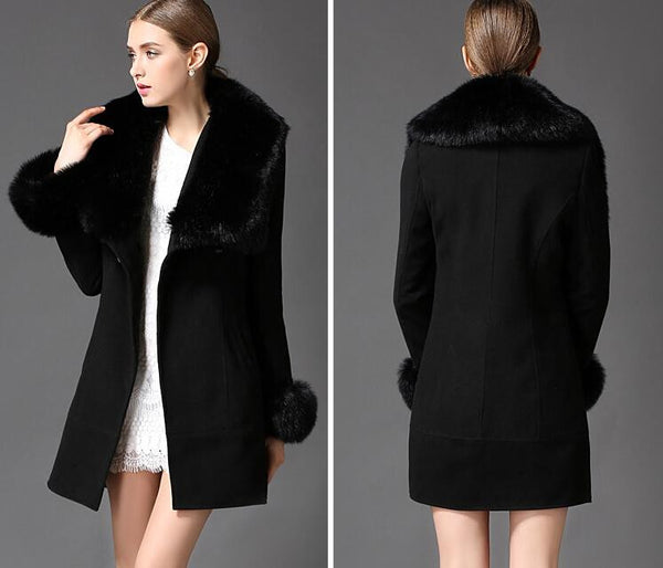 White winter coat with fur collar