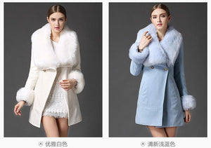Women's Off White Faux Fur Collar Wool Woolen Coat Jacket