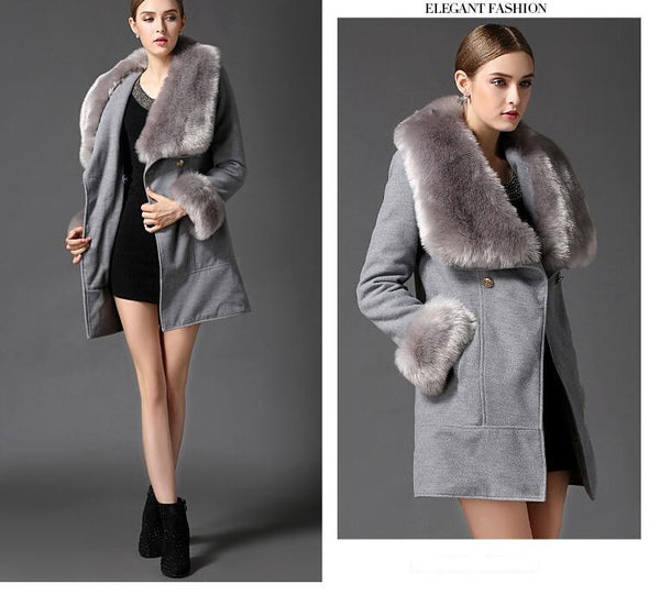 Women's Gray Fox Fur Collar Wool Woolen Coat Jacket