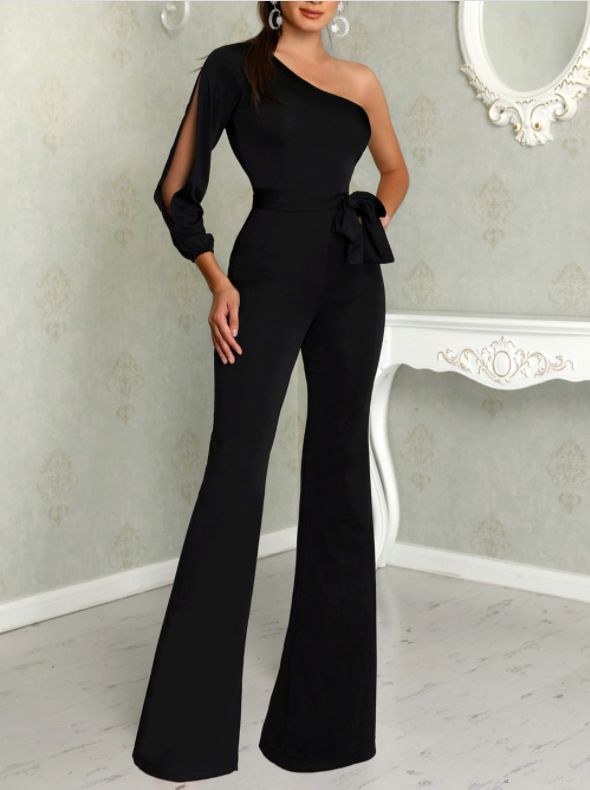 Womens Jumpsuit Tie Waist Belt Wide Leg Her Fashion Glam Romper