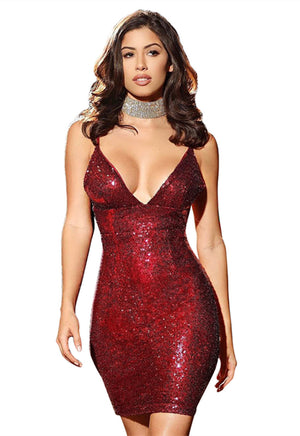 Womens Sexy Blue Sequins Cocktail V Neckline Her Mini Bodycon Party Dress