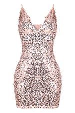 Womens Sexy Red Sequins Cocktail V Neckline Her Mini Bodycon Party Dress