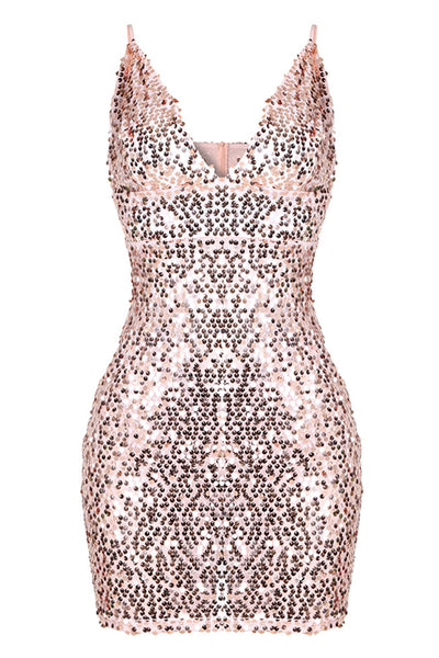 Womens Sexy Sequins Cocktail V Neckline Her Mini Bodycon Party Dress
