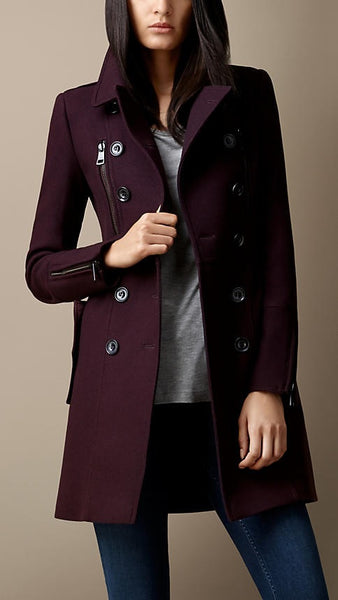 Wool Coat Cashmere Mid Length Slim Sexy Trench Coat