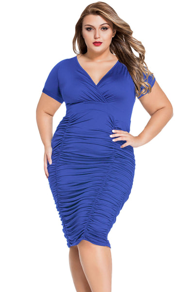 Wrapover Look Blue Pleated Plus Size Midi Dress