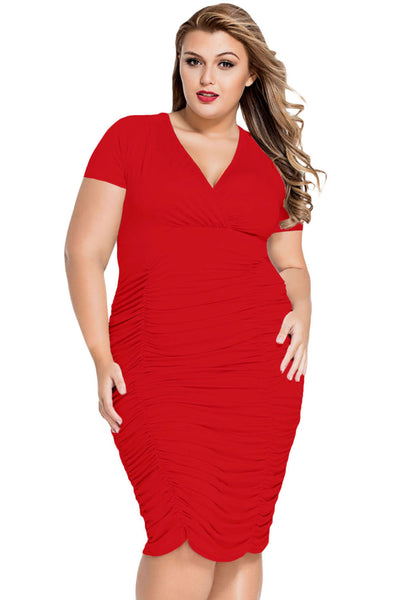 Wrapover Look Red Pleated Plus Size Midi Dress