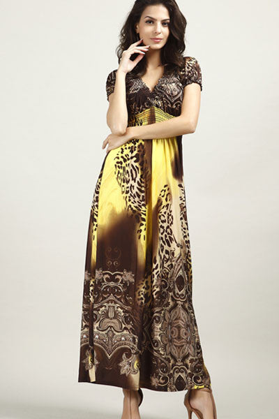 Yellow Leopard Print Boho Chic Maxi Dress