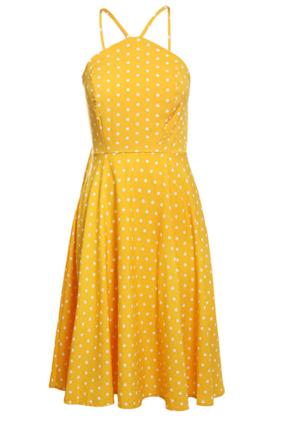 Black White Polka Dot Flared Her Fashion Modern Vintage Dress