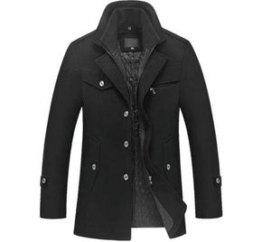 His Fashion Winter Wool Coat Slim Fit Jackets Men Casual Outerwear