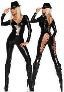 Black Faux Leather Jumpsuit Costume
