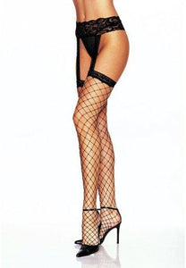 Lycra Fence Net Stockings with Attached Garterbelt