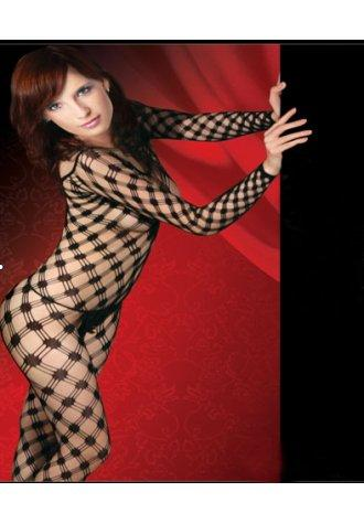 Long sleeved Lycra Triple Diamond Net Bodystocking