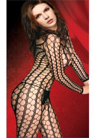 Long Sleeved Oval Net Bodystocking