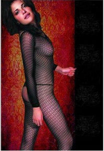 Long Sleeved Patterned Fishnet Bodystocking