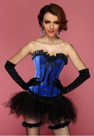 Blue Crush Corset Bustier with Pettiskirt
