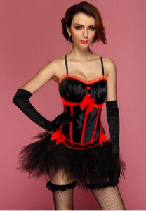 Black Red Peasant Burlesque Corset Bustier & Pettiskirt Set