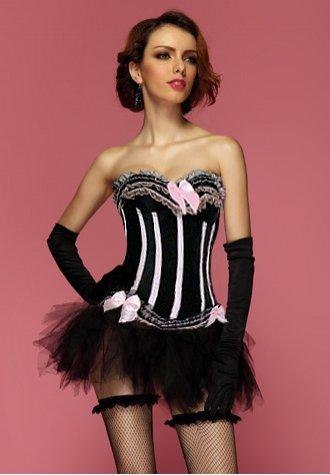 Black Pink Sensational Ruffles Trimmed Fashion Bustier Corset With Tutu Skirt
