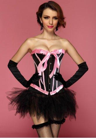 Black Pink Bubblegum Dreams Burlesque Corset Bustier & Pettiskirt