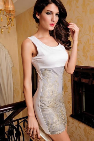 """Chic Series""  Gold Embroidered Texture Lace Tank Sleeveless Pencil Slim Vintage"