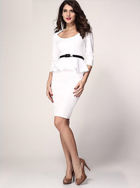 Her Fashion White Long Sleeve Belted Peplum Midi Dress
