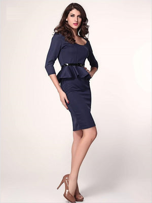 Her Fashion Blue Long Sleeve Belted Peplum Midi Dress