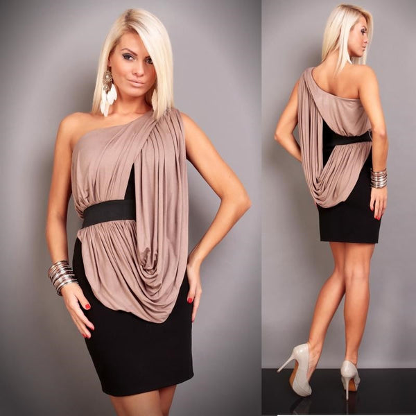 "One Shoulder Cascading Ruffle Sexy Dress  ""Trendy Series"""