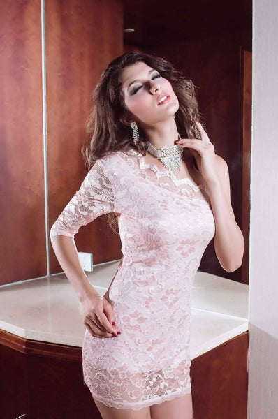 """Trendy Series"" One Sleeve Off Shoulder Mini lace  Dress 2015 New Design"