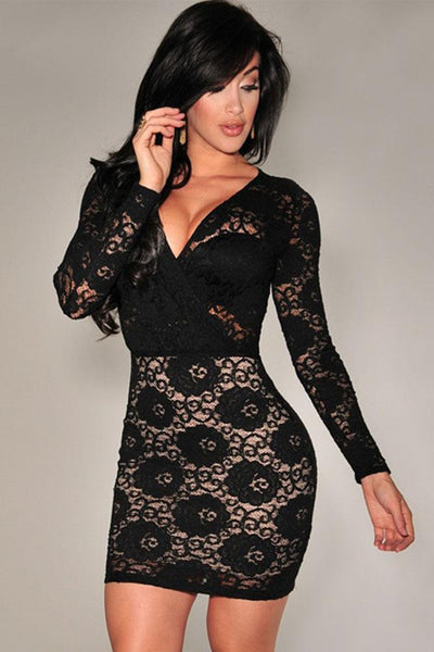 "Bold Series"" Long Sleeve V Neck  Lace Mini Dresses Polyester Spandex Fabric Dress"