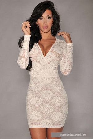 """Bold Series"" Long Sleeve V Neck  Lace Mini Dresses Polyester Spandex Fabric Dress"