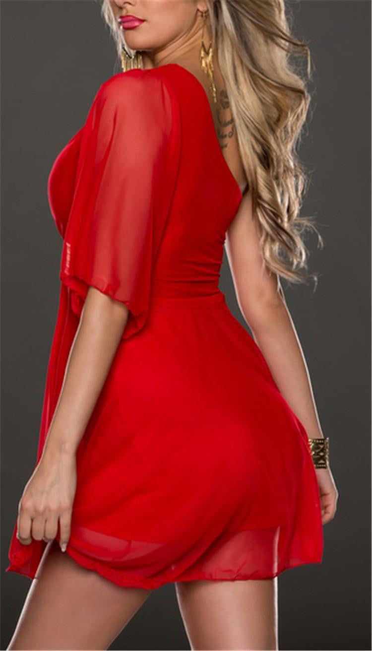 """Chic Series""  Soft Glamorous Sloping Shoulder Roman Style Smooth Chiffon Dress"