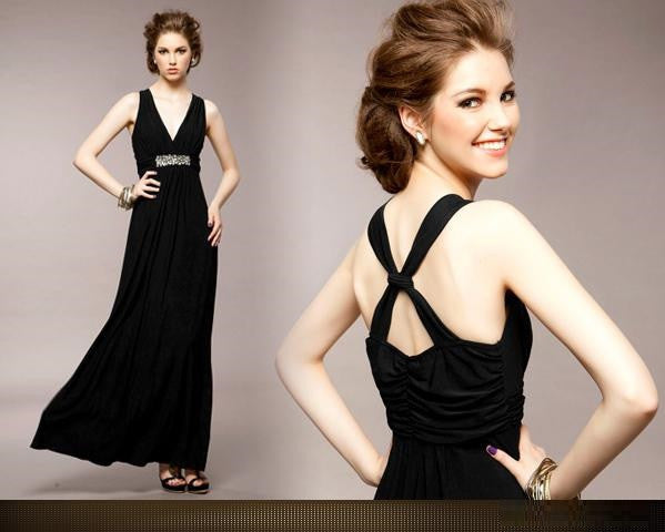 """ Impression Series""  Deep V-neck Backless Sparkling Diamond Formal Dress"