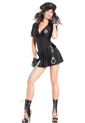 Black Police Style Dress Costume