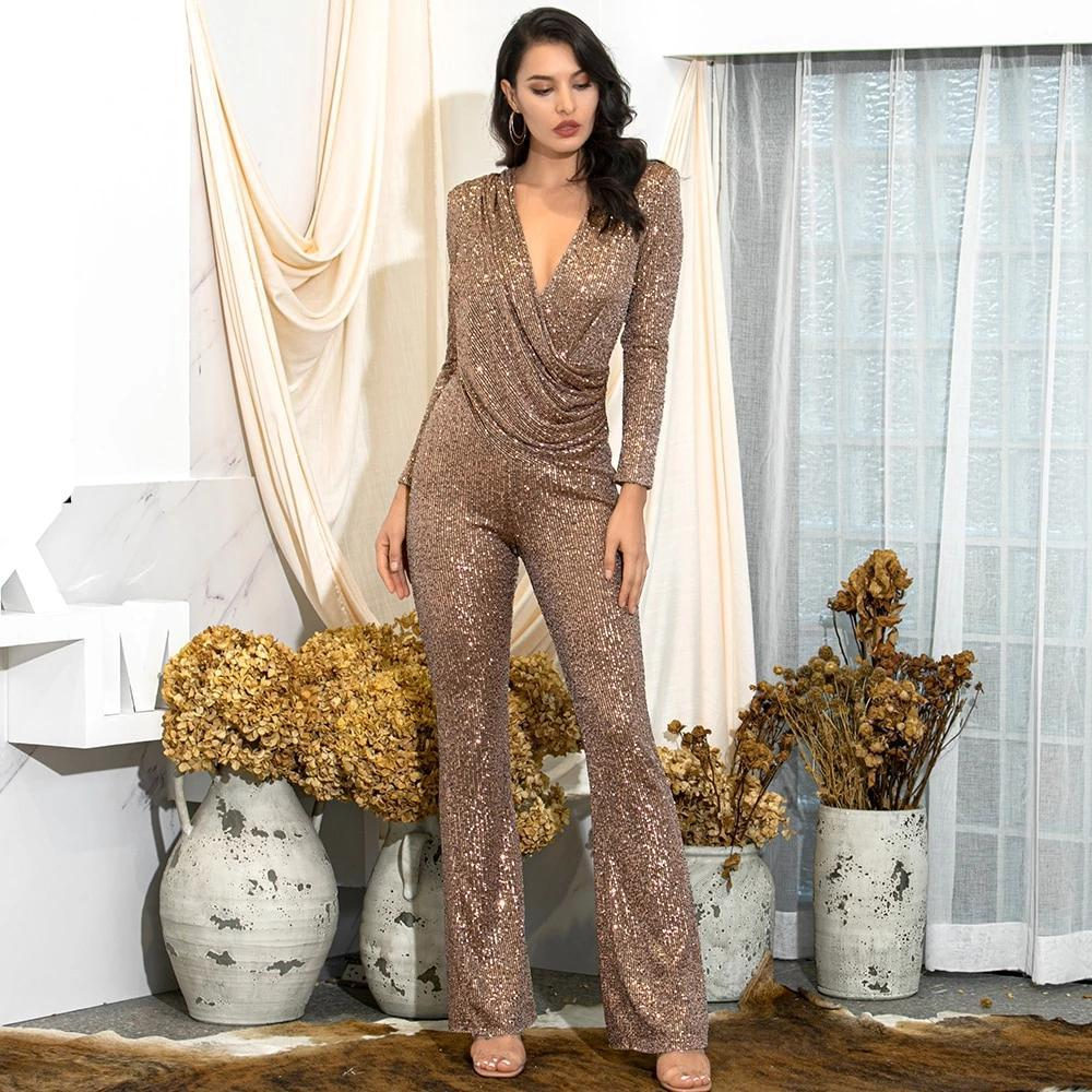 Deep V-neck Draped Elastic Sequins Bodycon Long Sleeve Party Jumpsuit
