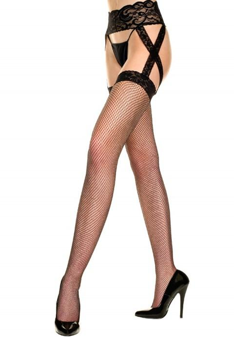 Fishnet Stockings With Lace Garterbelt