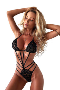 Lace Teddy With Strappy Detail Alluring Black Teasing Lingerie