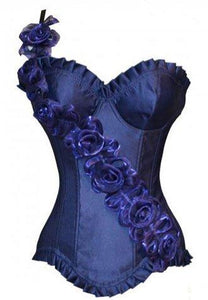 Dark Blue Floral Strap Off Shoulder Underwire Corset