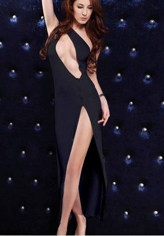 Black One- piece Shoulder Long Gown