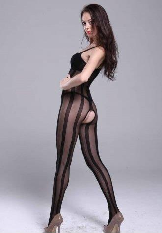 Sheer Mesh Striped Body Stockings