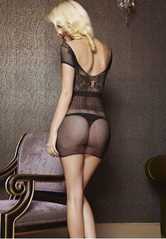 Black See Through Fishnet Chemise Dress