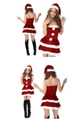 Christmas Costume Strapless Dress