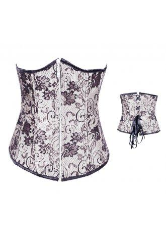 Silver Foral Print Jacquard Tapestry Underbust Corset