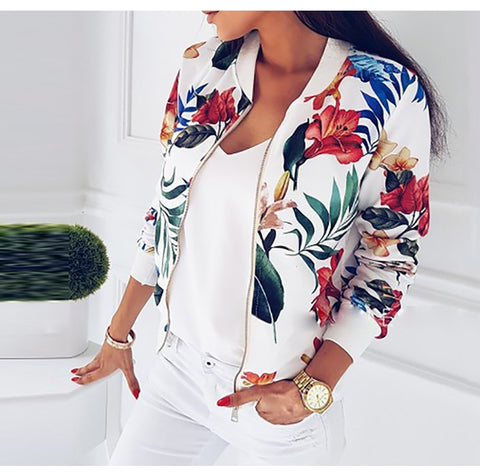 Womens Jacket Retro Floral Print Long Sleeve Zipper Bomber Biker Coat