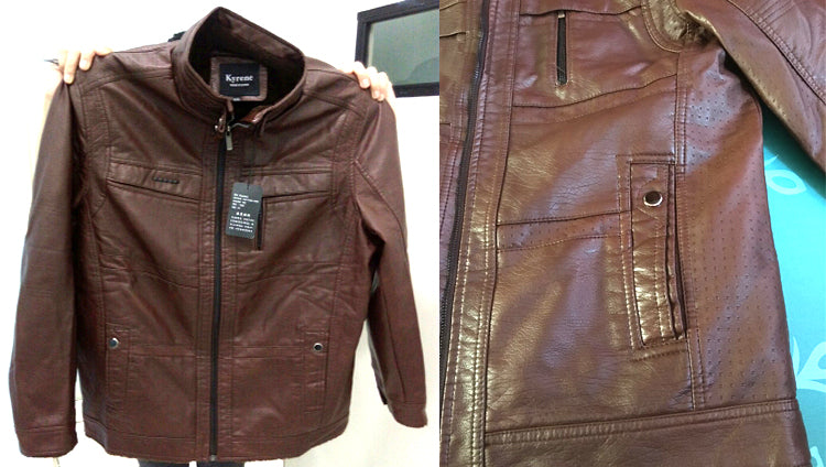 Mens PU Leather Jacket High-Quality Outerwear Faux Fur Fleece Coats