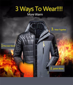 Winter Mens Jacket 3 in 1 Outwear Thicken Warm Waterproof Parka Coat